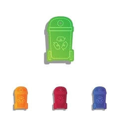 Trashcan sign Colorfull applique vector image