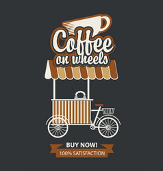 Tray on wheels for sale coffee in retro style vector
