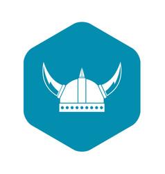 Viking helmet icon simple style vector