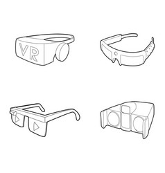 vr glasses icon set outline style vector image