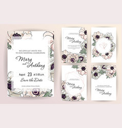 wedding invitation menu cover information label vector image