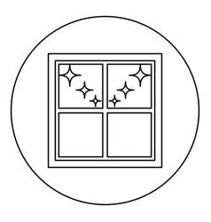window overlooking the night stars icon black vector image