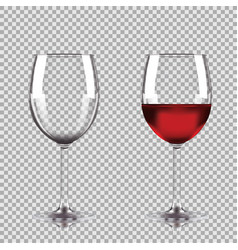 Wine glasses - empty half full set of vector