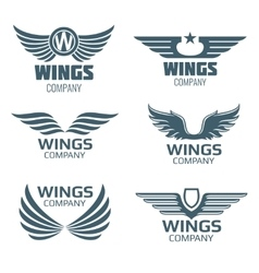 Wings logo set vector