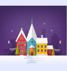 winter cityscape or urban landscape with buildings vector image
