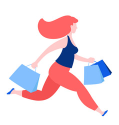 woman running with purchase buy paper bags vector image