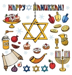 Hanukkah symbolsDoodle colored Jewish Holiday set vector image