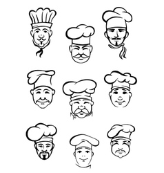 Collection of chefs in traditional toques vector image vector image