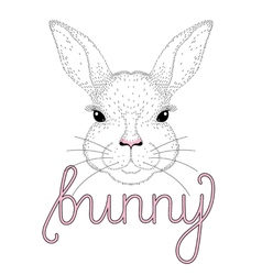 cute bunny portrait Hand drawn for t-shirt print vector image