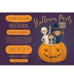 Halloween party invitation design with kids vector image vector image