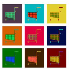 set of flat shading style icon shopping cart black vector image