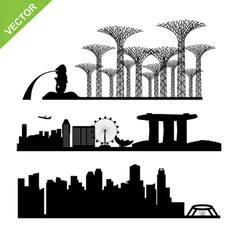 Singapore city landmark silhouettes vector image
