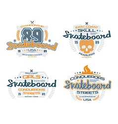 Skateboard emblems for t shirt vector image