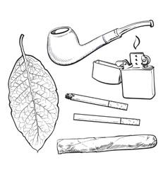 Sketch style smoking pipe lighter cigar vector image vector image