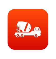 concrete mixer truck icon digital red vector image vector image
