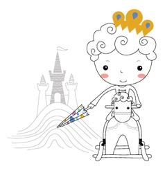 Fairytale prince -rain kids vector image vector image
