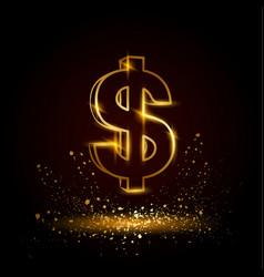 gold dollar symbol vector image