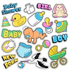New Born Baby Stickers Patches Badges Scrapbook vector image vector image