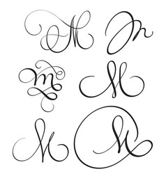 set of art calligraphy letter m with flourish of vector image vector image