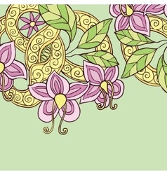 Background with hand drawn color doodle flowers vector image vector image