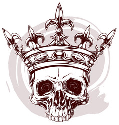 graphic color human skull with king crown vector image vector image