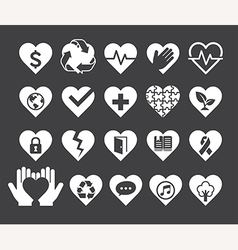 Love concept heart line icons style vector image vector image