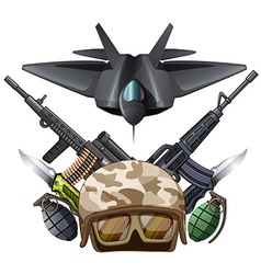 Many kind of weapons and fighting jet vector image