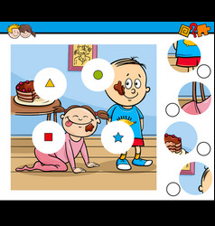 Match pieces puzzle with children and pie vector