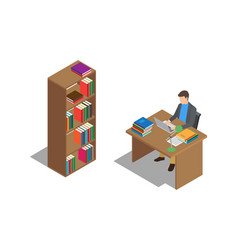 student studies with laptop at desk in library vector image