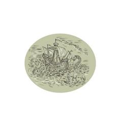 tall ship turbulent sea serpents oval drawing vector image
