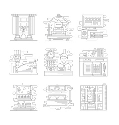 Travel services icons flat line style vector image vector image