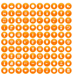 100 health food icons set orange vector