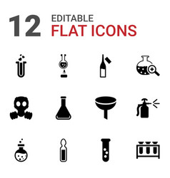 12 chemical icons vector