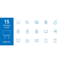 15 display icons vector image