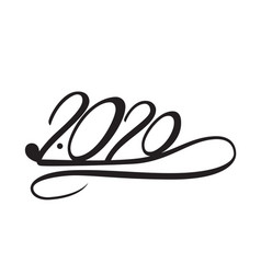 2020 year of the rat lettering 2020 in the form vector image