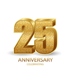 25 anniversary golden numbers isolated on black vector