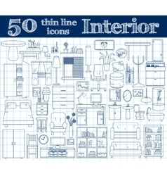 50 icons for Interior Thin line set in blue vector