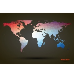 Abstract colorful triangle world map vector image