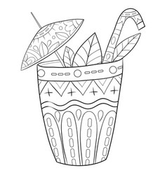 Adult coloring bookpage a cute glass juice vector