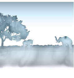 African landscape painted in watercolour 1105 vector