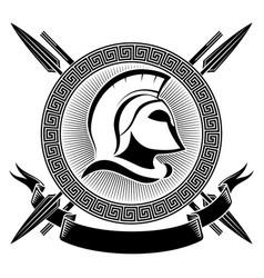 ancient spartan helmet greek ornament meander vector image