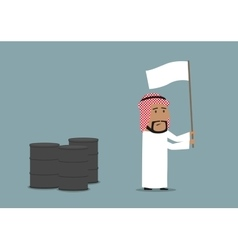 Arabian businessman capitulating with white flag vector image