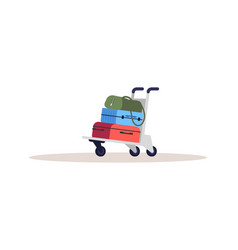 Baggage on cart semi flat rgb color luggage vector