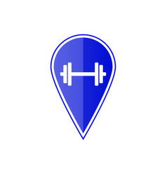 blue map pointer with dumbbell vector image