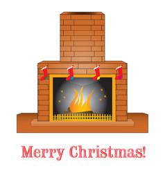 Brick fireplace vector