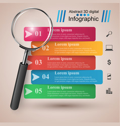 Business infographics loupe icon vector