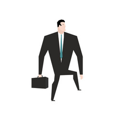 Businessman steps forward guy goes on white vector