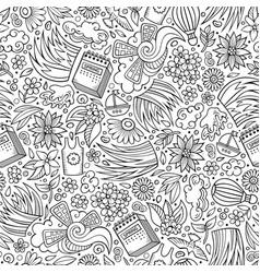 Cartoon cute hand drawn spring seamless pattern vector