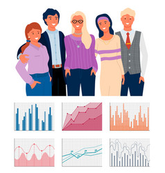 charts on cells graph icons teamwork vector image