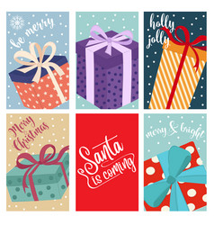 christmas card collection with gift boxes vector image
